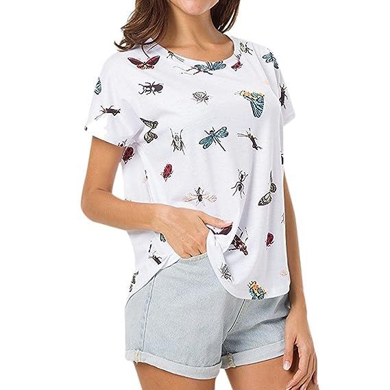 Ropa Camisetas Mujer, Camisas Mujer Verano Elegantes cuello redondo Batwing Altao Casual Tallas Grandes Camisetas
