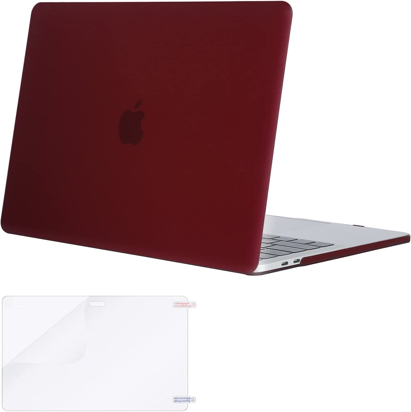 MOSISO MacBook Pro 13 inch Case 2019 2018 2017 2016 Release A2159 A1989 A1706 A1708, Plastic Hard Shell Case&Screen Protector Compatible with MacBook Pro 13 inch with/Without Touch Bar, Marsala Red