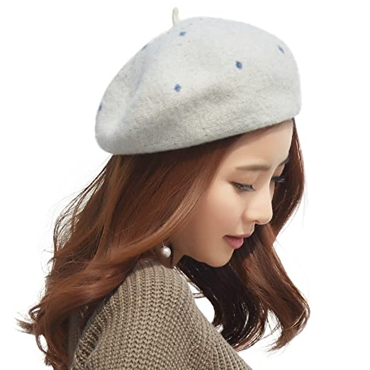 0ac95ceb7cf6a SIGGI 63% Wool French Beret Caps Women Winter Painter Hat Lady Beanie  Packable Lined White