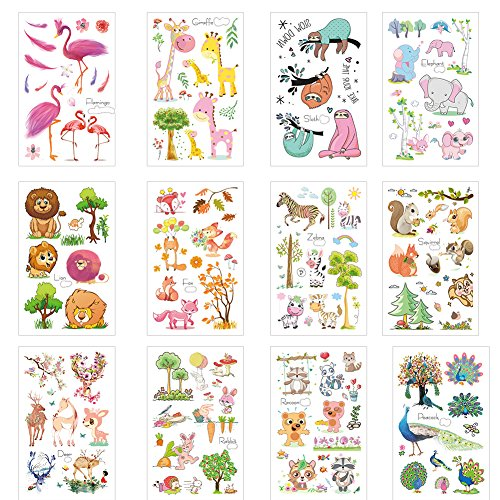 (Finrray Zoo Temporary Tattoos Kids Cats Lions Zebra Sloth Giraffe Flamingos Elephant Elk Jungle Animal Cartoon  Face Stickers Girls Boy Children Body Art-12)