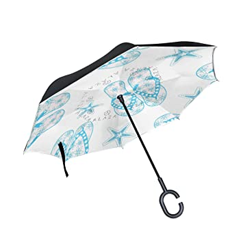 jstel doble capa puede azul estrella de mar Flip Flop paraguas coches Reverse resistente al viento