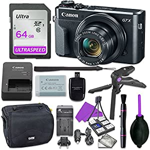 Canon Powershot G7 X Mark II Point & Shoot Digital Camera Bundle w/ Tripod Hand Grip , 64GB SD Memory , Case and More