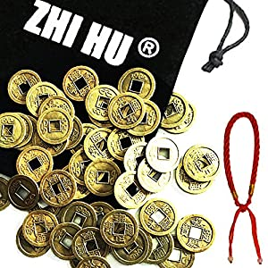 "ZHIHU 50pcs Good Lucky Chinese Feng Shui Coins Zhihu Fortune Coin 20mm (0.8"") W+Good lucky Red String Bracelet for Wealth and Success Men women lucky gift"