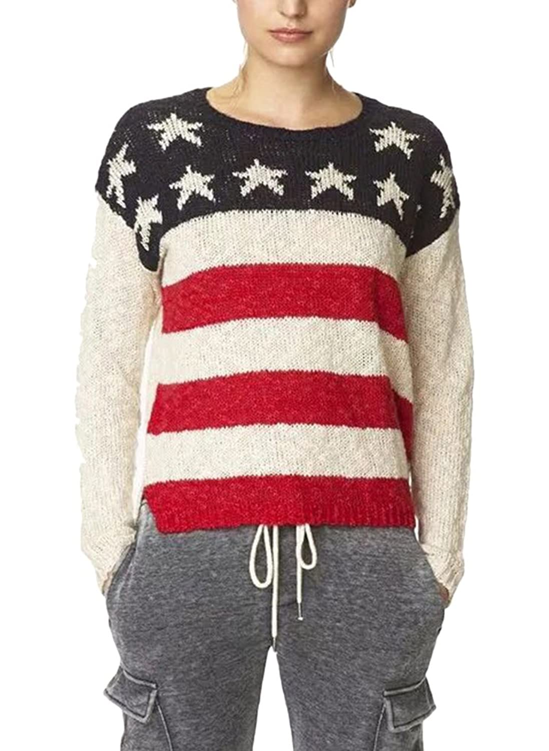 Women's Casual Crewneck American Flag Pattern Knitted Sweater Jumper top