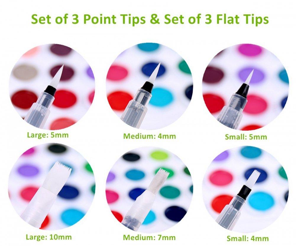 Blue DIY Drawing Painting Tool Craft Set RUNGAO 6pcs Water Brush Pen Pilot Ink Pen Watercolor Brush Pens