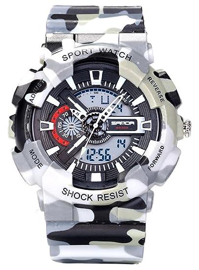 Jóvenes Adultos niños niñas UV400 Deporte Militar 50 M Impermeable Relojes Golpes Resistir para Senderismo Gris