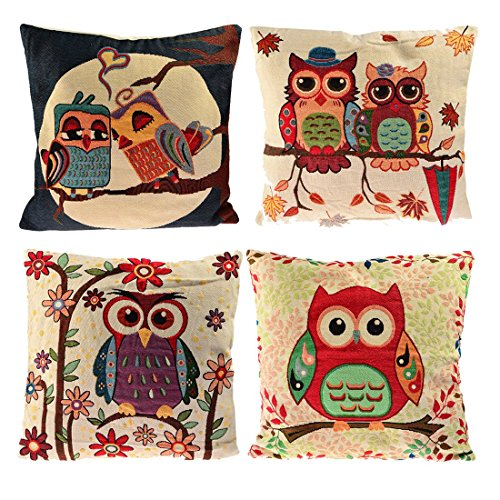 absolutely smart owl items. Set of 4 Sofa Pillow Covers  YIFAN Pillowcase Chair Pad Pouch Throw Pillowslip for Home Office Wedding Christmas Party Decor Owl Amazon com