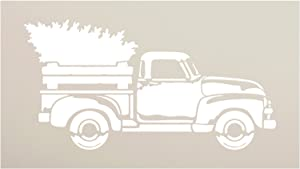 Little Red Truck Christmas Tree Stencil by StudioR12   for Painting Wood Signs   Vintage Nostalgic Holiday Home Decor   Rustic Old Fashioned Holiday   Choose Size (16