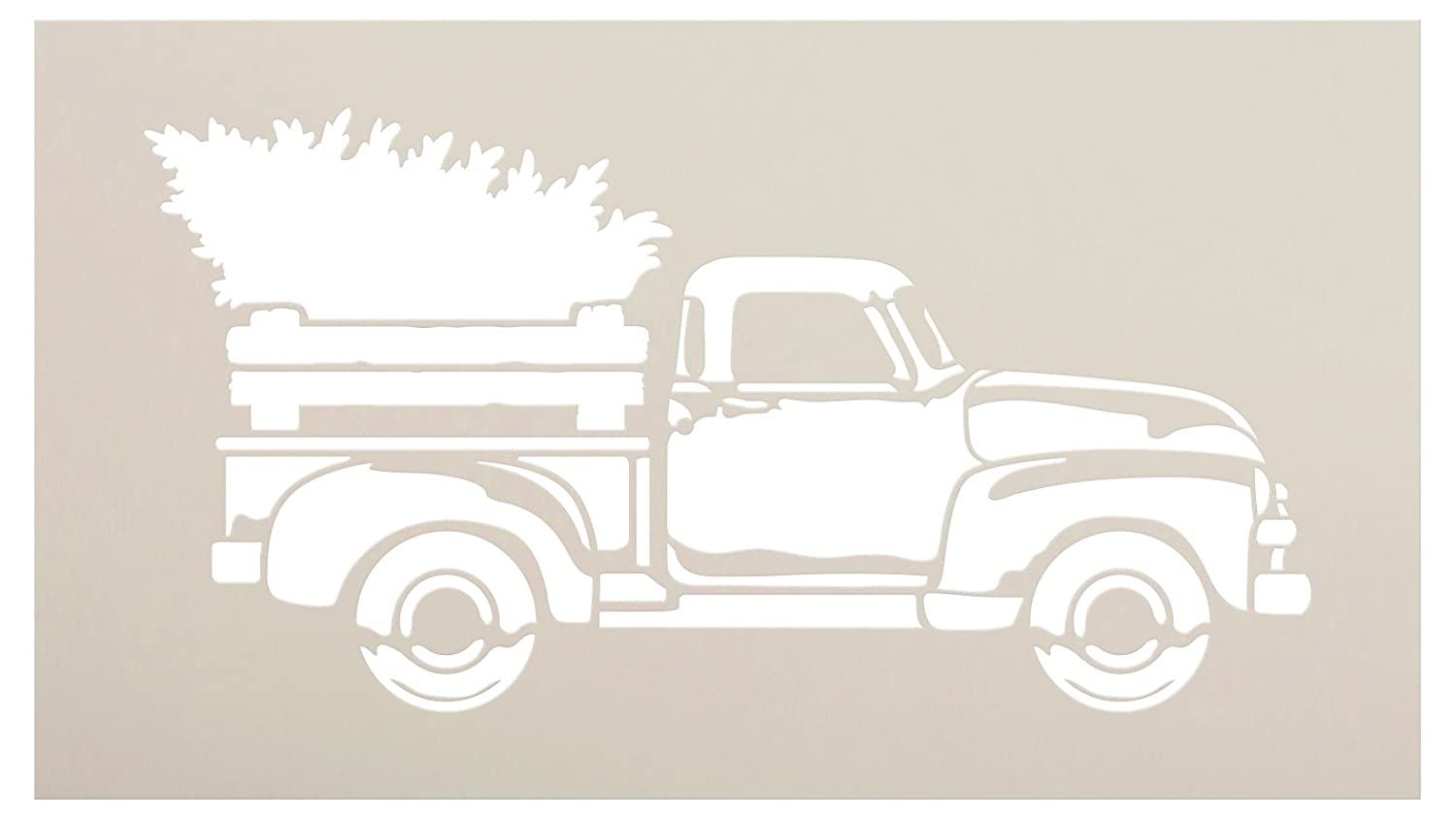 Old Truck With Christmas Tree Painting.Little Red Truck Christmas Holiday Stencil With Tree By Studior12 For Painting Wood Signs Vintage Script Lettering Nostalgic Holiday Home Decor