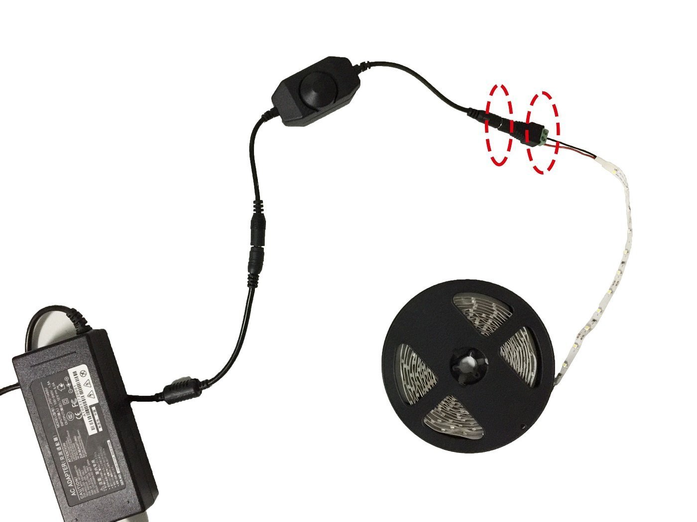 connecteur de ladaptateur suppl/émentaire DC DC Jack pour les deux RGB et monochrome SMD 5050 3528 2835 5630 LED Strip Lumi/ères Ruban de LED LitaElek DC 12V-24V 3A bande LED contr/ôleur gradateur Gradateur PWM w