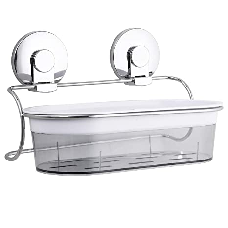 LEVERLOC Estantes Cesta para Ducha Ventosa Sin Taladro Cesta Profunda para Baño y Cocina Extraíble MAX Hold 10KG Estanteria Baño Ducha Impermeable ...