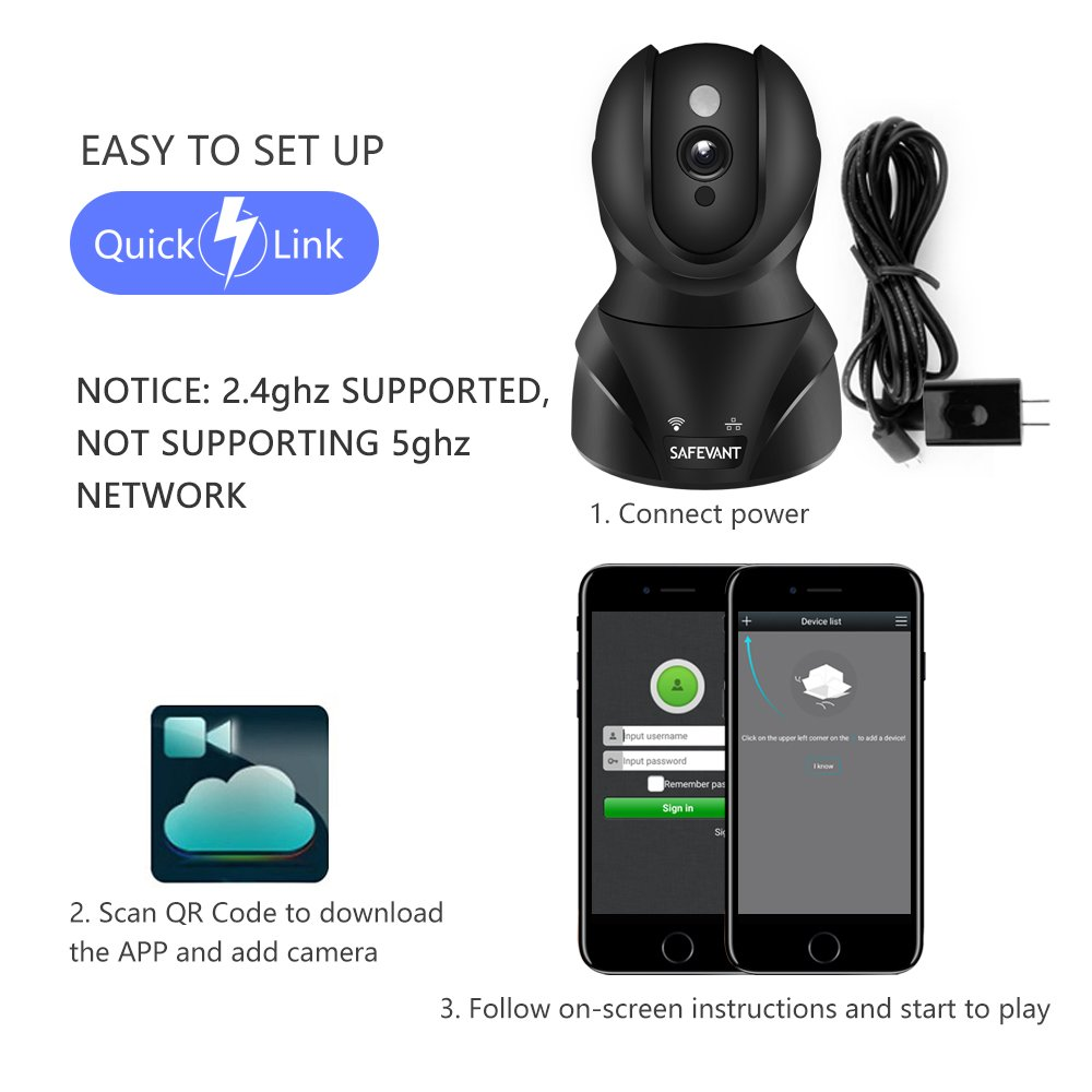 Wireless Security Camera, SAFEVANT HD WiFi IP Camera Surveillance Camera with Two Way Audio Night Vision for Pet Monitor, Nanny Camera, Baby Monitor and Puppy Cam by SAFEVANT (Image #7)