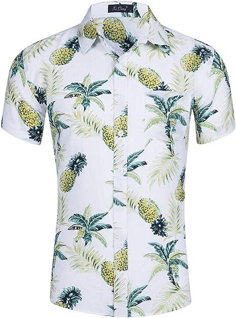 GNAXY Casual Hawaiana Camisa para Hombre Señores Manga Corta Bolsillo Delantero Surf Palmeras Caballeros Playa,DG1001,S: Amazon.es: Deportes y aire libre