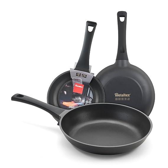Metaltex DURIOR - Lote 2 Sartenes Aluminio Fundido, 20 + 24 cm, antiadherente ILAG 2 capas, Full Induction válido para todo tipo de cocinas: Amazon.es: ...