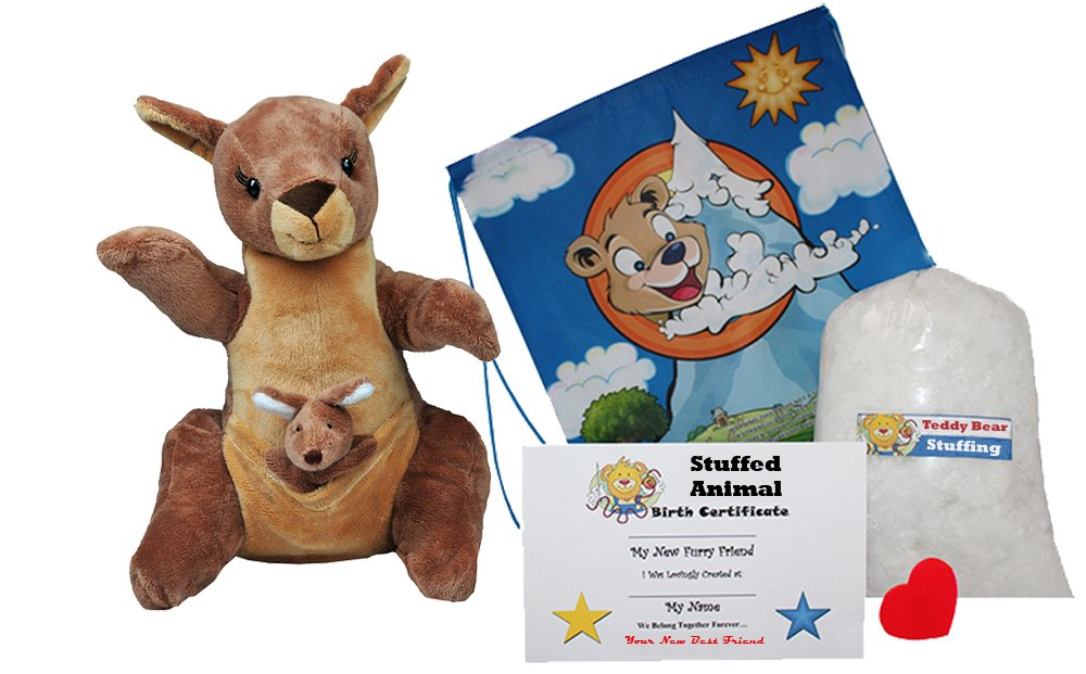 Make Your Own Stuffed Animal ''Jill & Joey Kangaroo's'' with Finger Puppet- No Sew - Kit With Cute Backpack!