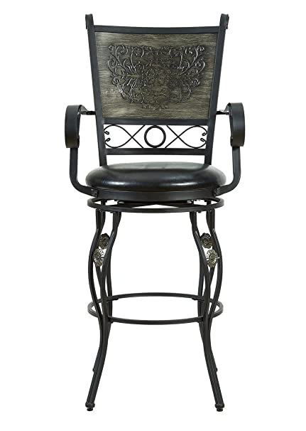 Amazoncom Powell Ellie 30 Big And Tall Bar Stool In Gray Kitchen