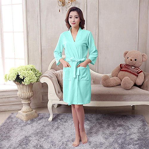 0b288f5eef Fashion ER Men Women Cotton Waffle Bath Robe Suck Sweat Kimono Bathrobe  Summer Nightgowns Grün j91MIF7z ...