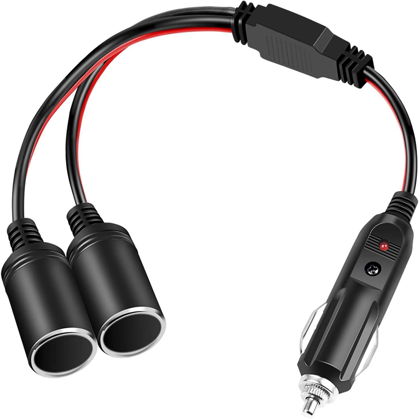 Electop 1-to-2 Cigarette Lighter Splitter Adapter Power Charger Port