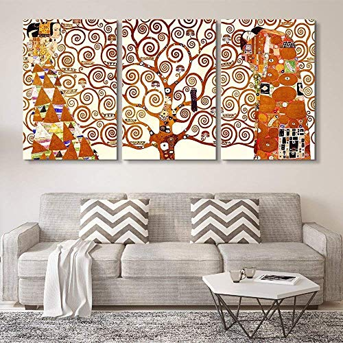 (wall26 3 Panel World Famous Painting Reproduction on Canvas Wall Art - Tree of Life by Gustav Klimt - Modern Home Decor Ready to Hang - 16