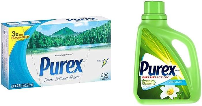 Purex Liquid Natural Elements Laundry Detergent, Linen & Lilies, 75 oz (50 Loads) and Purex Fabric Softener Dryer Sheets, Mountain Breeze, 40 Count