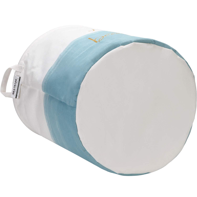 Sea Team Cesta de Almacenamiento para cesto de Ropa de Lona de Tela cil/índrica Plegable de Gran tama/ño de 19.7x 15.7 con dise/ño de Dos Tonos Azul y Blanco