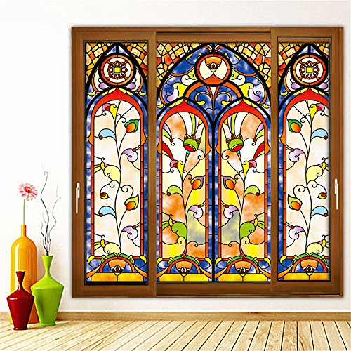 OstepDecor Custom Translucent Non-Adhesive Frosted Stained Glass Window Films 24
