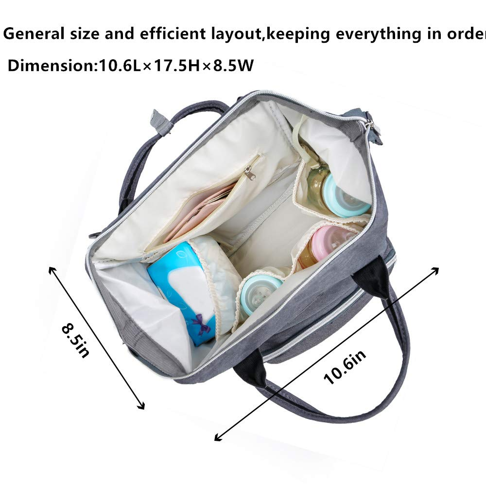 Large Capacity Black Diaper Bag Backpack Stylish and Durable LUCKU Multi-Function Waterproof Travel Backpack Nappy Bags for Baby Care