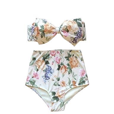 Best World 4 Yu Wocharm Women Vintage Floral Print High Waisted Swimsuit Suits Padded Bra Bikini
