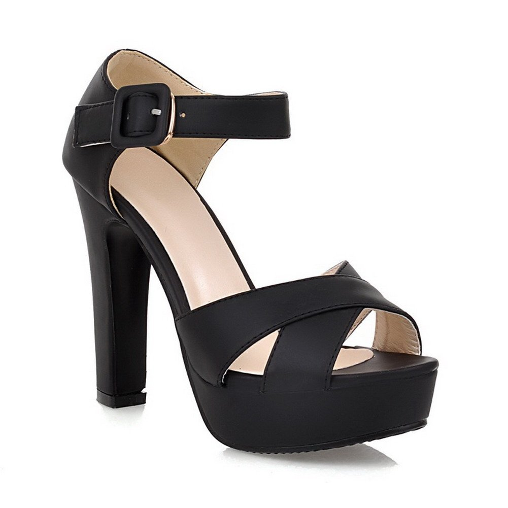 WeenFashion Girls Open Peep Toe High Heel Platform Chunky Heels PU Frosted Solid Sandals with Buckle, Black, 7.5 B(M) US