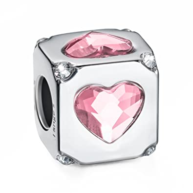 f57466a38 Amazon.com: i'ange's Silver Heart Shaped Design Bead Charms with Pink  Crystal, 925 Sterling Silver Charms for Bracelets