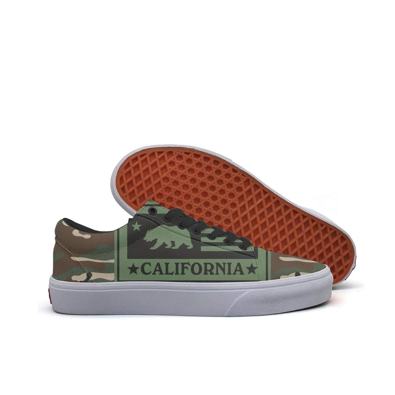 SERXO Camo California Bear Flag Womens Shoes for Skateboard Casual Sneakers