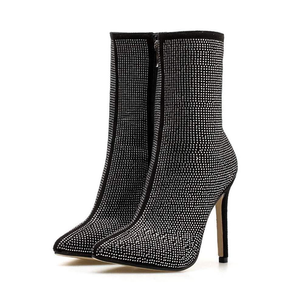 Lieyliso Damen Stiefel Spitzen Strass Fein Super Super Super High Heel Stiefelies (Farbe   schwarz Größe   35) b2da9b