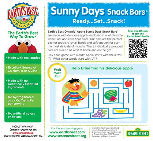Earth's Best Organic Sunny Day Toddler Snack Bars with Cereal Crust, Made With Real Apples - 8 Count (Pack of 6) by Earth's Best (Image #3)