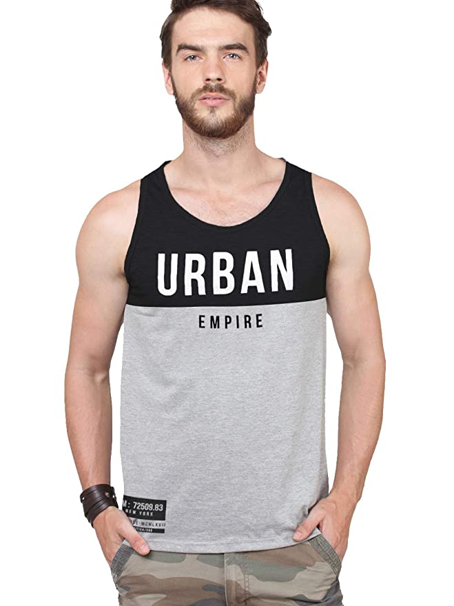 Maniac Men's Printed Sleeveless Grey,Black Cotton Vest