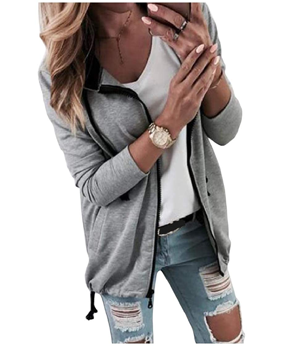 YUNY Womens Pure Color Open Front Long Sleeve Lace-up Sweatshirts Hooded Coat Light Grey XL