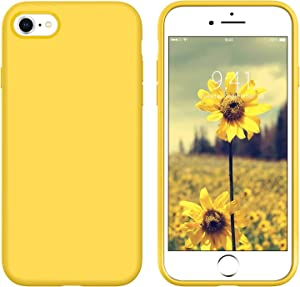 DUEDUE iPhone SE 2020 Case,iPhone 8 Case,iPhone 7 Case,Liquid Silicone Soft Gel Rubber Slim Cover with Microfiber Cloth Lining Cushion Shockproof Full Protective Phone Case for iPhone 7/8/SE2,Yellow