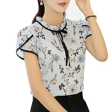 be5f703a87dda Amazon | MIOIM ブラウス レディース 春 夏 かわいい 花柄 シフォンシャツ 薄い 半袖 カジュアル 桜祭 フリル インナー トップス  | シャツ・ブラウス 通販
