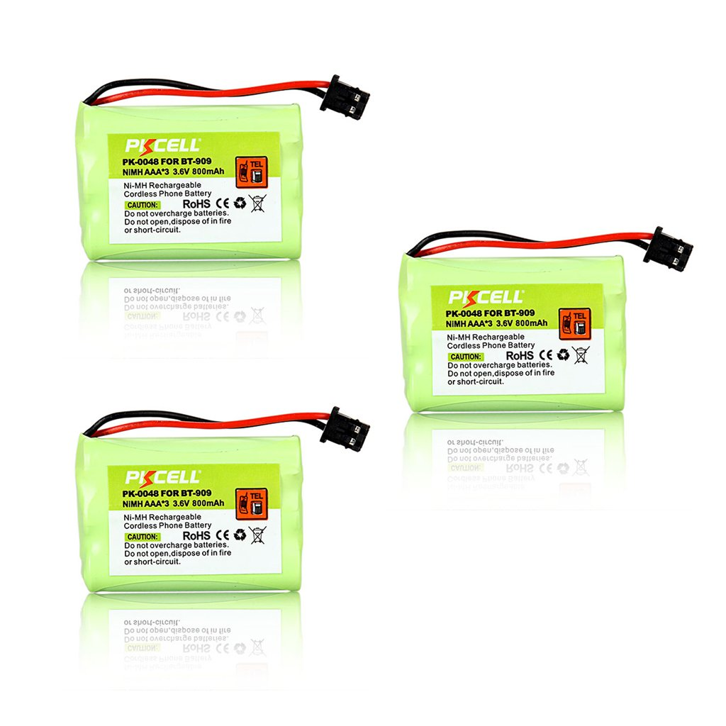 3Packs Uniden Cordless Phone BT-909 Battery ( AAA 800mAh 3.6V NI-MH) pkcell PK-0048