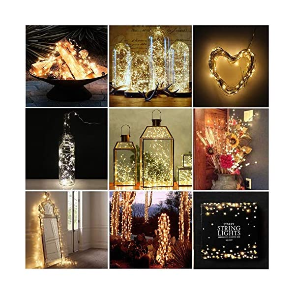 Vindany 2 Pezzi Stringa Luci LED - 33FT Catene Luminose Luci Natalizie USB e Batteria Impermeabile IP65 Fata Luci Decorative da Giardino Filo di Rame Luci Interne per Natale Festa 6 spesavip