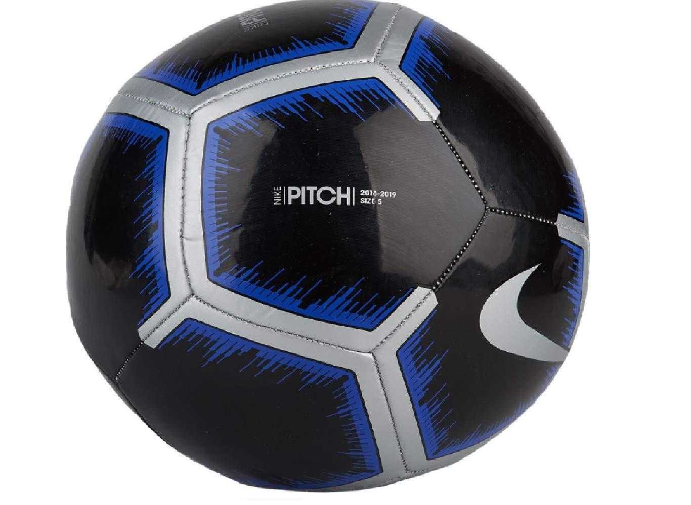 Nike Pitch Soccer Ball Black/Metallic Silver/Racer Blue Size 3