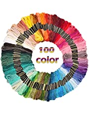 Sifang Rainbow Color Embroidery Floss 100 Skeins,Premium Multi-Color Cross Stitch Threads, Friendship Bracelet Floss String, Crafts Floss
