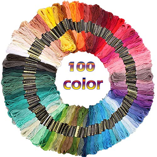 Sifang Rainbow Color Embroidery Floss 100 Skeins,Premium Multi-Color Cross Stitch Threads, Friendship Bracelet Floss String, Crafts Floss (100 Color)