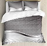 Ambesonne Grey Duvet Cover Set Queen Size, Technology Structure with Wavy Stripe and Checkered Motif Industrial Grid Print, Decorative 3 Piece Bedding Set with 2 Pillow Shams, Charcoal Grey