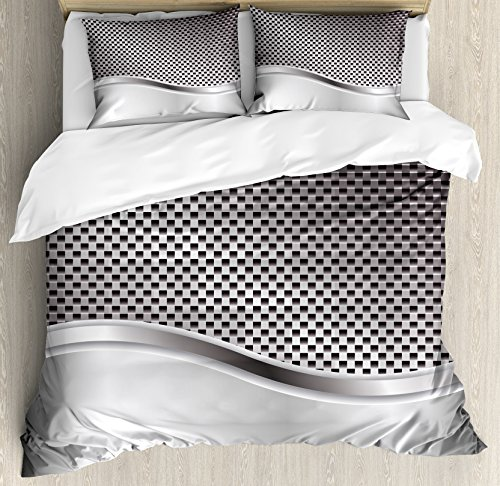 Ambesonne Grey Duvet Cover Set Queen Size,
