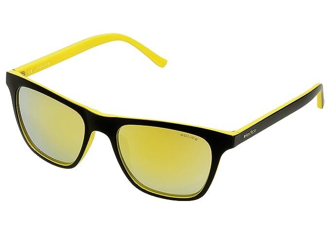 c2bbd31e06 Police Hot 1 Gafas de sol, SEMI MATT BLACK & YELLOW FRAME/GOLD MIRROR