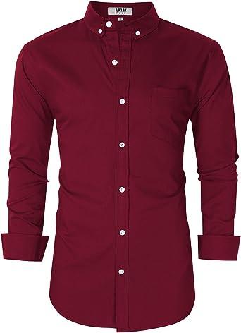 Camisa Oxford de manga larga para hombre, corte regular, para hombre - - Large: Amazon.es: Ropa y accesorios