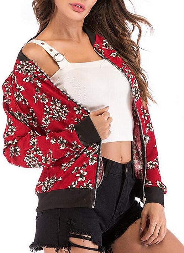 FSSE Women Zip Up Casual Long Sleeve Flower Print Baseball Jacket Bomber Coat
