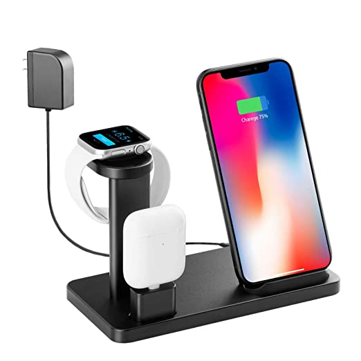 Cargador inalámbrico, soporte Apple Watch para iPhone Xs Max ...