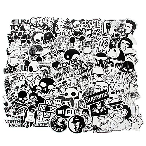 FNGEEN Laptop Stickers Black and White 100pcs Variety Vinyl