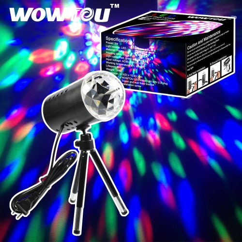 [WOWTOU Rotating House Party Crystal Disco Ball LED Stage Light with 360 Degree Extendable Tripod and US] (House With Dancing Halloween Lights)